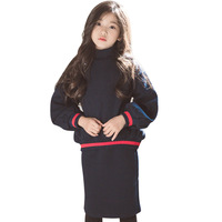 Autumn Girls Clothes Sets Kids Boutique Outfits Long Sleeve Velvet thick warm turtleneck sweatshirt+skirt 2pcs Teenager Clothing