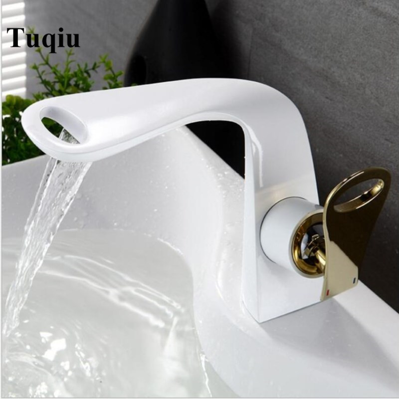 New Arrivals white and gold Bathroom Faucet hot and cold Crane Brass Basin Faucet Waterfall Sink Faucet Single Handle water tap New Arrivals white and gold Bathroom Faucet hot and cold Crane Brass Basin Faucet Waterfall Sink Faucet Single Handle water tap