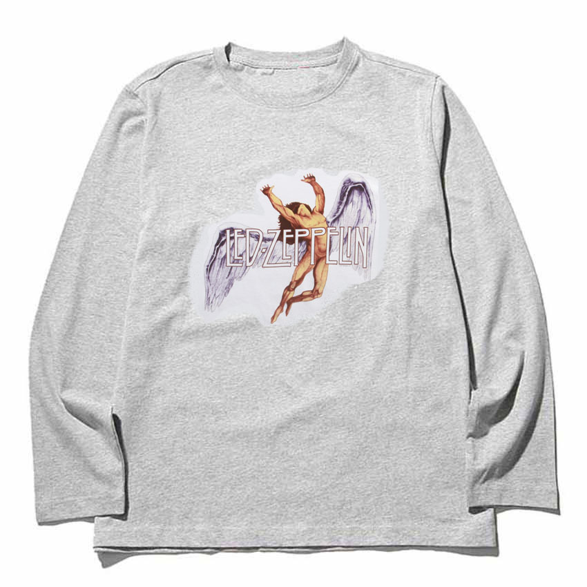 led zeppelin swan song band tee high quality cotton patchwork design Full Long Sleeve t shirt