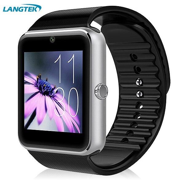 imágenes para Portátil smart watch gt08v notificador de sincronización de reloj tarjeta de la ayuda sim conectividad bluetooth apple iphone teléfono android smartwatch