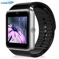 Wearable smart watch gt08 notificador de sincronização do relógio cartão sim suporte a conectividade bluetooth apple iphone telefone android smartwatch