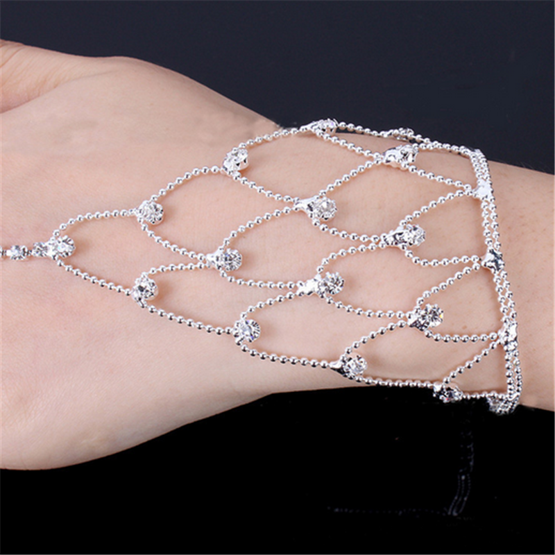 Fashion Women Bangle Net Mesh Hand Chain Bracelet With Finger Ring Crystal Bracelets Bridal Wedding Party Jewelry For Women