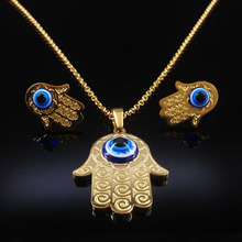 Full Crystal Evil Eyes Jewelry Sets Blue Eye Stainless Steel Statement Necklace Earrings Gold Plated Jewellery Set Women N68276