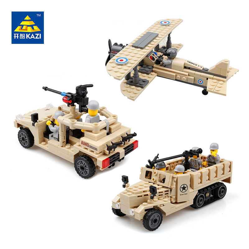 KAZI Military Building Blocks M2 Half Track Truck Hummer Army Car Airplane Fighter Model Bricks Intelligent Toys for Children kazi 608pcs pirates armada flagship building blocks brinquedos caribbean warship sets the black pearl compatible with bricks