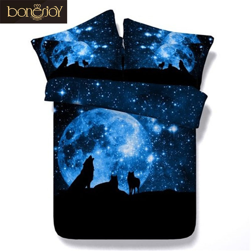 Bonenjoy Starry Sky Wolf Bedding Set Blue 3D Duvet Cover Twin Bed Linen ropa de cama