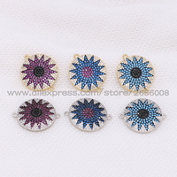 Wholesale Solar Pattern Small Connector Charm Beads Pendant Micro Pave Multi Colors Pendant Stone Handcrafted Jewelry