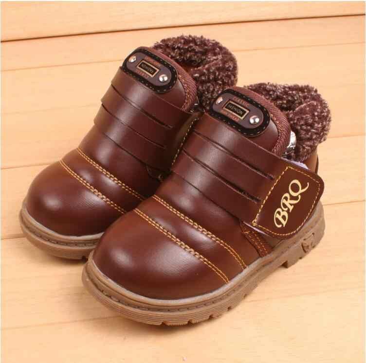 Kış Kalın sıcak çocuk çizmeleri Boyutu 21-30 Çocuk Peluş Kürk Kar Botları Erkek Yumuşak lastik çizmeler Siyah, Kahverengi, sarı
