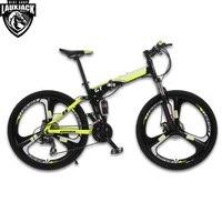 UPPER Mountain Bike Full Suspension Steel Foldable Frame 24 Speed Shimano Mechanic Brake Alloy Wheel