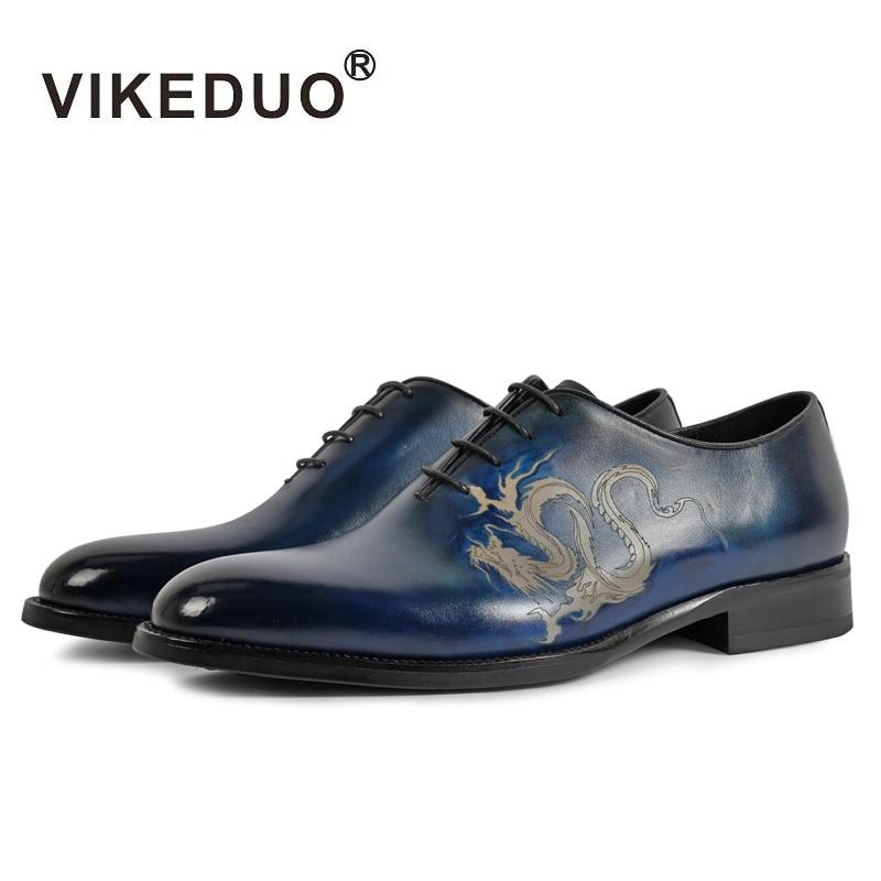 Vikeduo Brand New Moda Oxford Cipele za Muškarce Uzorak Slikarstvo Muška Pravi Koža Cipele Formalno Vjenčanje Ured Zapatos Hombre