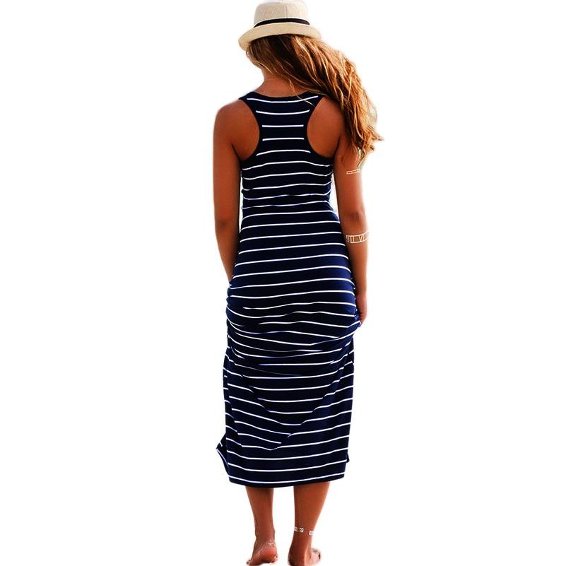 GZDL Sexy Summer Women Sleeveless O Neck Dress Striped Boho Beach Casual Long Maxi Vest Tank Dresses Sundress Vestidos CL2115