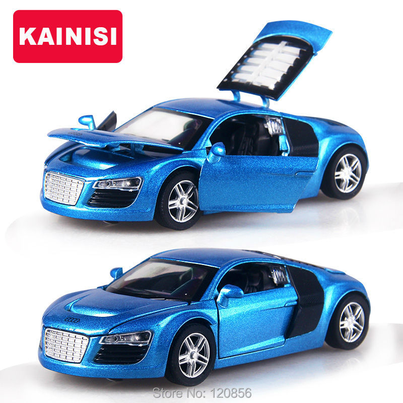 4 color 132 scale 14cm alloy cars r8 super car pull back diecast model toy with sound light collection gift toy for boys kids