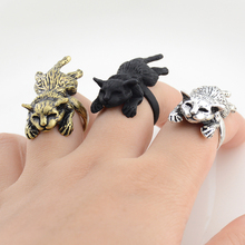 d3fae96e520e New Vintage 3Colors Hippie Lazy Cat Anillos Wrap Ring Men Boho Brass Knuckle  Kitty Anel Couple