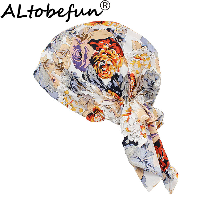 ALTOBEFUN Floral Lady Bandanas Women Rural Caps Girl Hip-hop Stretchy Turban Cap   Headwear   Female Chemo Hat Polyester BD005