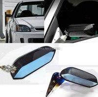 1 쌍 범용 자동차 블루 후면보기 미러 f1 워터 스틱 레이싱 사이드 미러 유리 및 광각 금속 브래킷