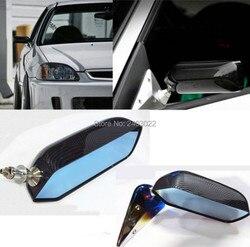 1 para uniwersalny CarAutos niebieskie lusterko wsteczne F1 jonizator wyścigi lusterko boczne szkło i szeroki kąt wspornik metalowy