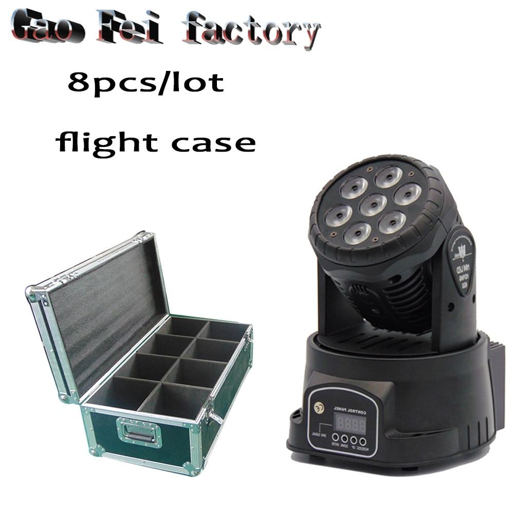 flight case 8Pcs/lot Led Moving Head Mini Wash 7x12w Rgbw Party/Disco/Dj light DMX 14 CH Stage Lighting Effect цены