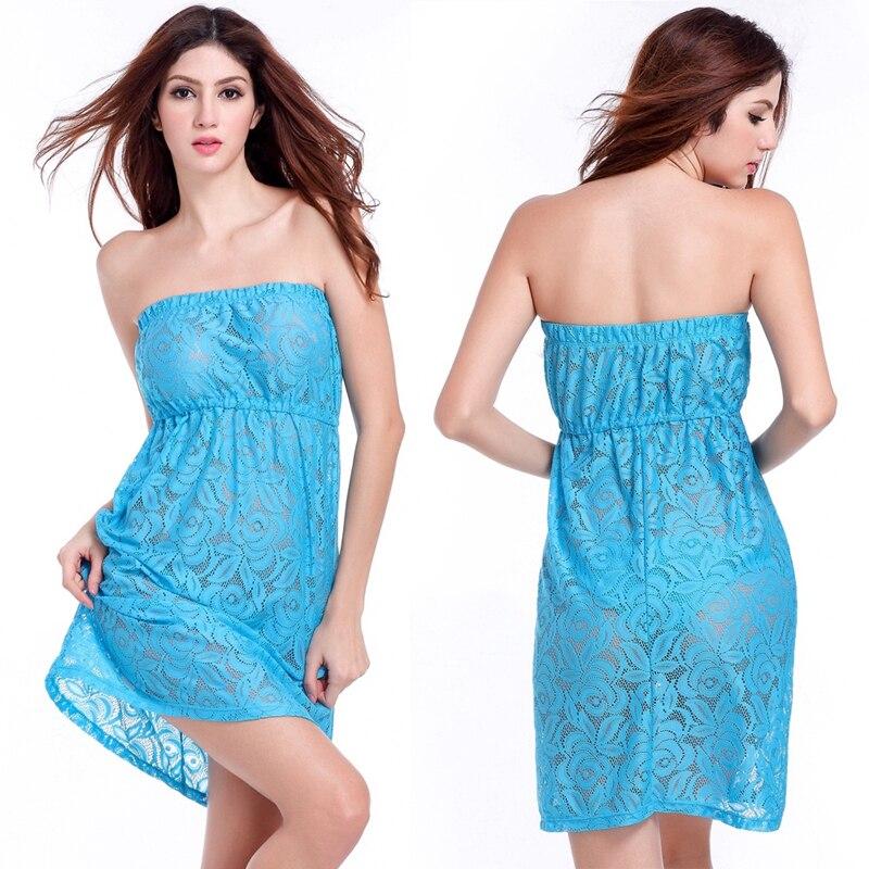 2016 Feminine Strapless Big size Female Plus XXL Beach dress Large Women Sexy Transparent Lace Cover up dress Dropshipping