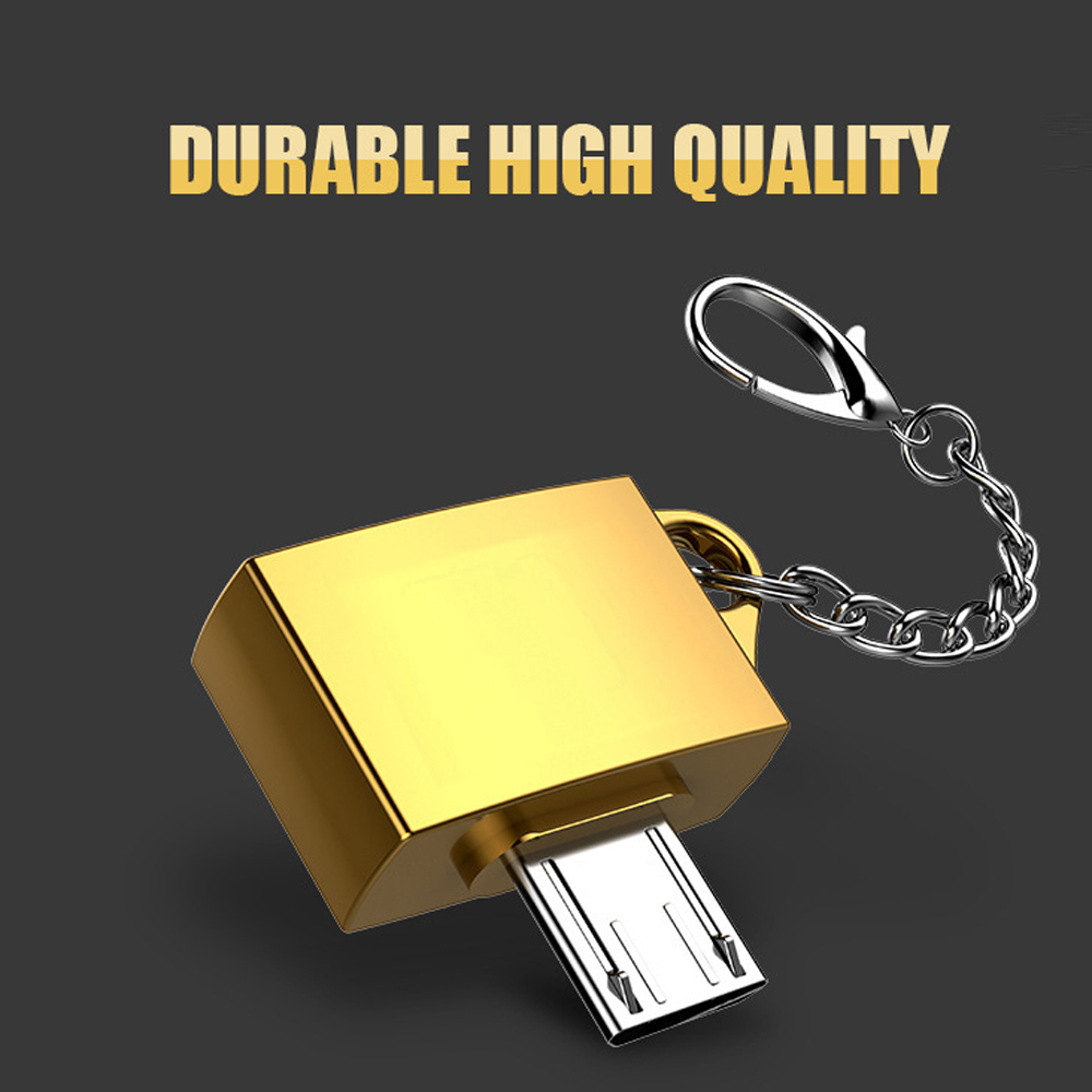 10 pcs a lot Metal OTG U Disk Cable Adapter With Keychain for Samsung for Android Charging Converter USB Micro Cable Connector in Mobile Phone Cables from Cellphones Telecommunications