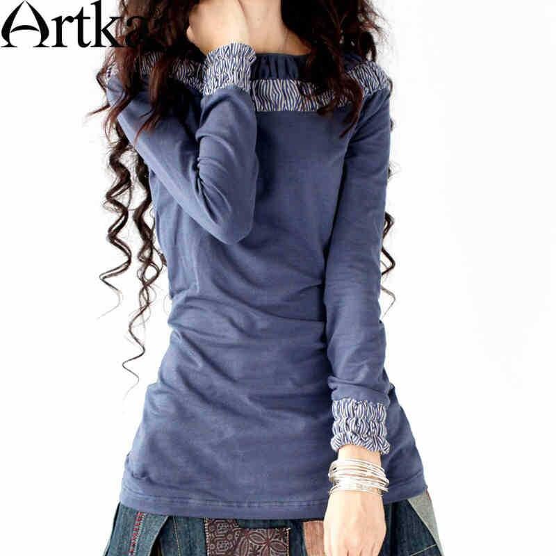 Artka Women s Autumn New Slim Fit Skinny Soft Slash Neck Pleated Plaid Knitting Long T