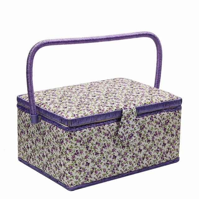 Purple Sewing Storage Box Flower Pattern Fabric Crafts Wooden Basket ...