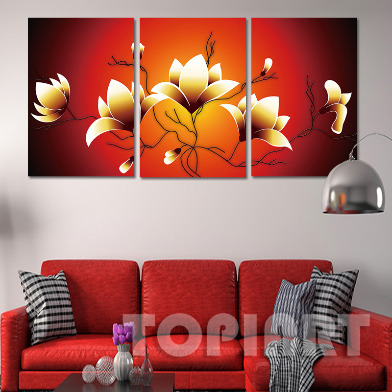 Delightful Modern Decorative Paintings Wall Art 3 Piece Abstract Golden Magnolia  Flower Painting Canvas Prints For Living Room No Frame In Painting U0026  Calligraphy From ... Part 32