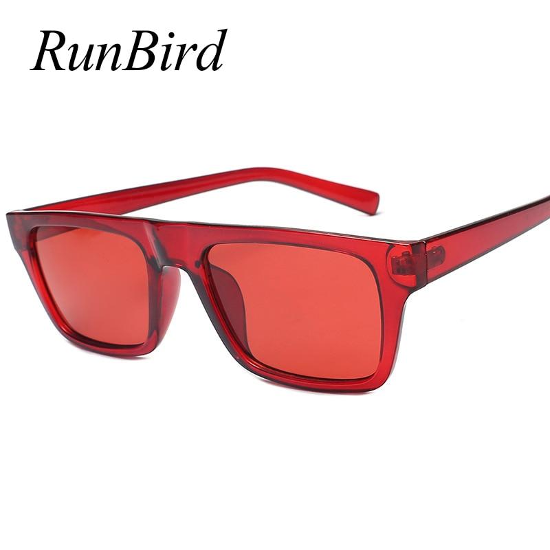 RunBird Rectangle Sunglasses Women Fashion Brand Designer Red Sun Glasses Male Female Vintage Eyewear Shades UV400 5362R