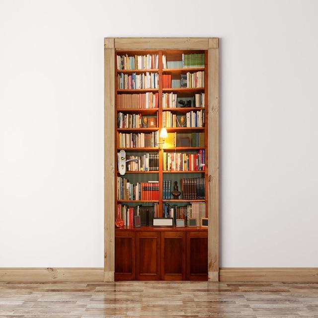 Retro Librerie Modello Adesivi Per Porte Ragazzi Ragazze Camera Dei Bambini  Soggiorno Camera Da Letto Porta