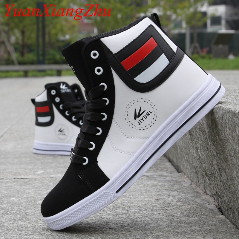 Brand Men High Shoes Mens Hip-Hop Casual Shoes 2018 Hot New Fashion Breathable Comfortable Light Lace Adult High Top Men Shoes 2017 new chaussure homme mens shoes casual leather vulcanize hip hop white men platform summer hot sale breathable black shoes