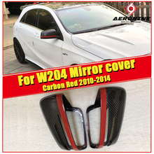 цена на C class W204 Side Mirror cover with Red Line Carbon fiber 1:1 Replacement For Mercedes C63AMG look Side door mirror covers 10-14