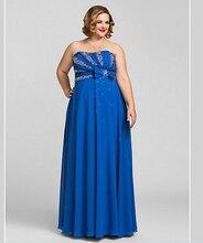 Plus Size Royal Blue larga de la gasa vestido de noche Formal Crystal partida Sequin sin tirantes del hombro mujeres vestido vestido de noche