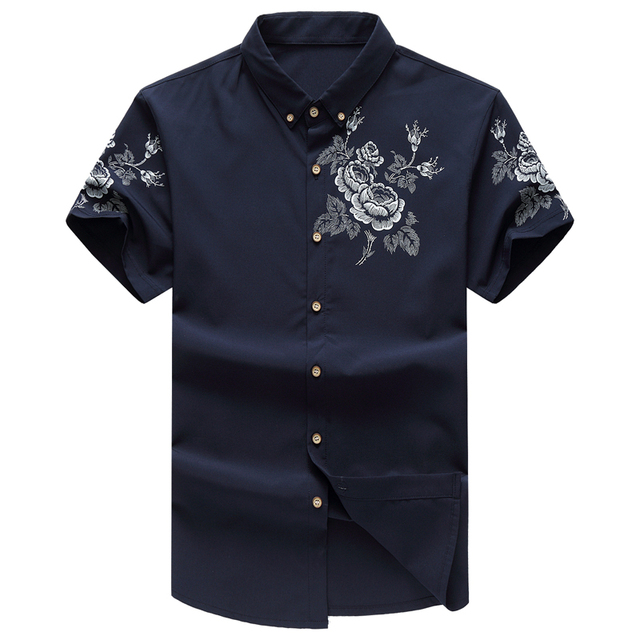 Fashion Chinese style Shirt Mens Summer Cotton Embroidered Floral Casual  Short Sleeve Men Shirts Quality Luxury