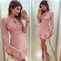 Women Elegant Print Dress Party Sexy Night Club Short Dress O Neck Long Sleeve Sheath Bodycon