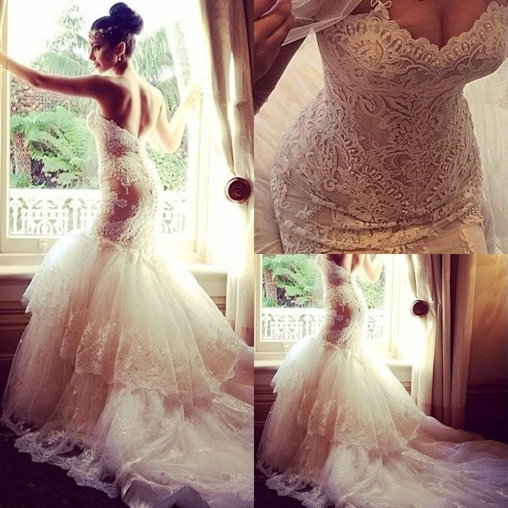 Elegant Lace Wedding Dresses Sweetheart Covered Button Back Lace ...
