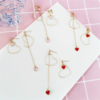 Heart-Shaped Earrings Japanese And Korean Girls Love Personality Fashion Wild Asymmetric Pendant Ear Clip Wholesale 1