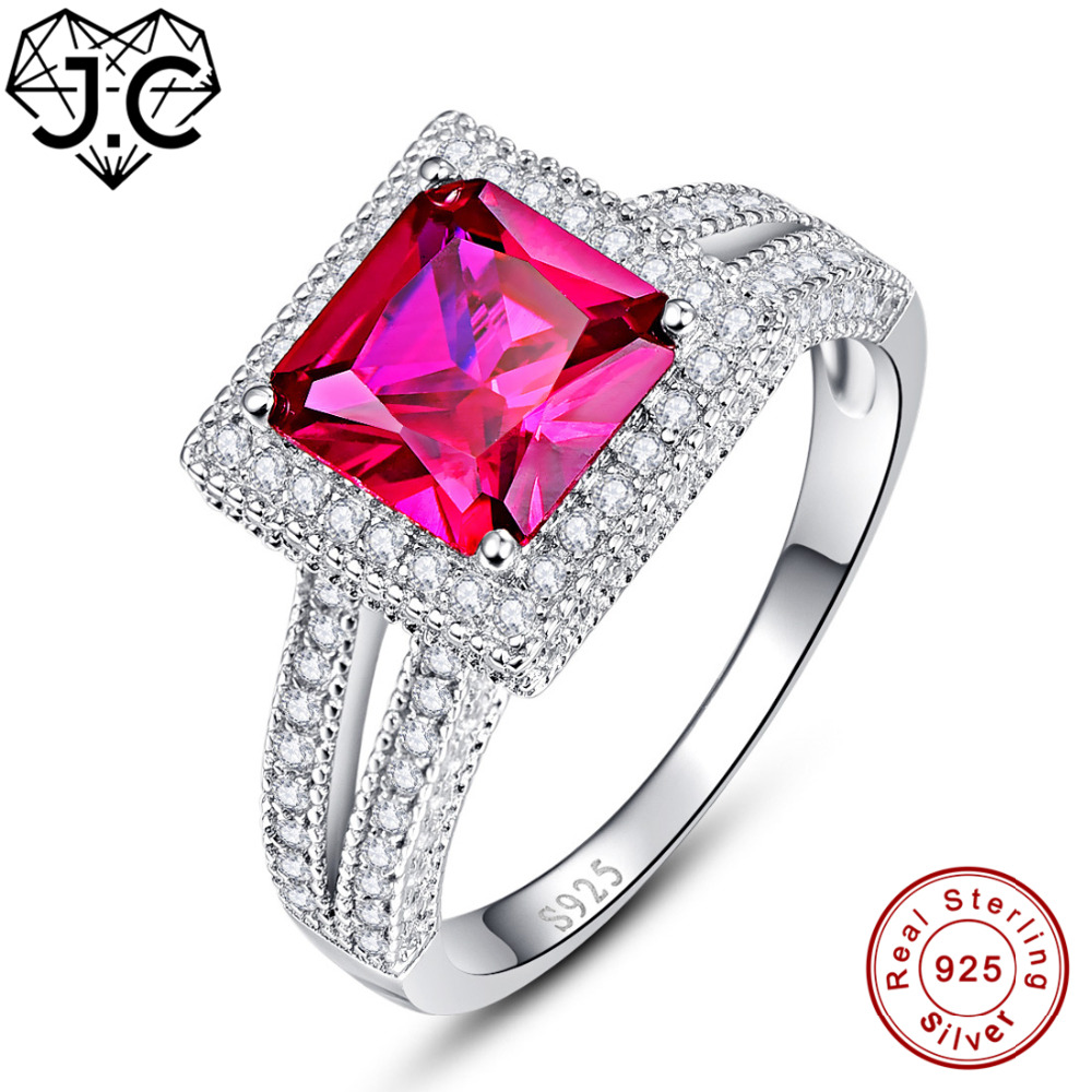 Industrious J.c Fine Jewelry Ruby Spinel & White Topaz For Women/men Highly Recommend Lovers Genuine 925 Sterling Silver Ring Size 6 7 8 9 Rings
