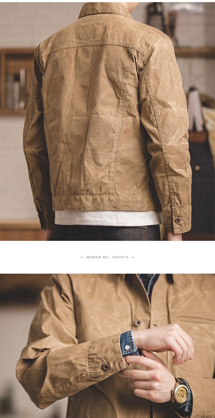 HTB1IfpqXojrK1RkHFNRq6ySvpXa4 MADEN Men's Waxed Canvas Cotton Jacket Military Light Spring Work Jacket Khaki