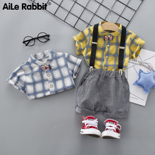 AiLe Rabbit The new 2019 children in the summer sports clothes grid short sleeve T-shirt straps shorts