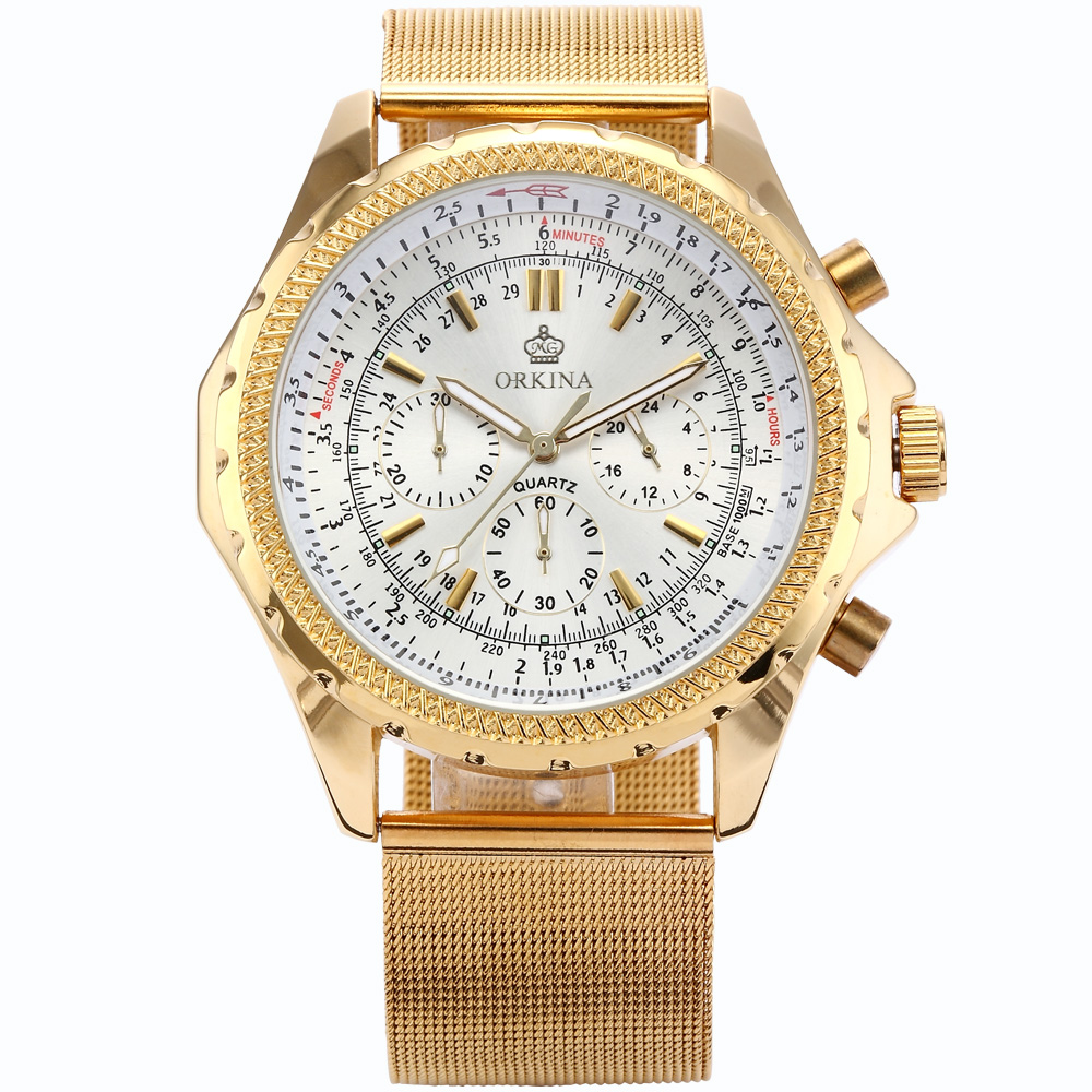 Orkina Gold Watch 2016 New Elegant Armbanduhr Herrenuhr Quarzuhr Uhr Cool Horloges Mannen Gift Box Wrist Watches for Men orkina brand clock 2016 new luxury chronograph rose gold case black dial japan movement mens wrist watch cool horloges
