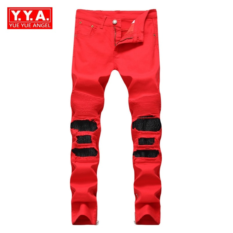 2018 Autumn New Men Jeans Slim Straight Leg Hole Pleated Jeans Pants Red Black Side Zipper Trousers Male Streetwear Plus Size 38