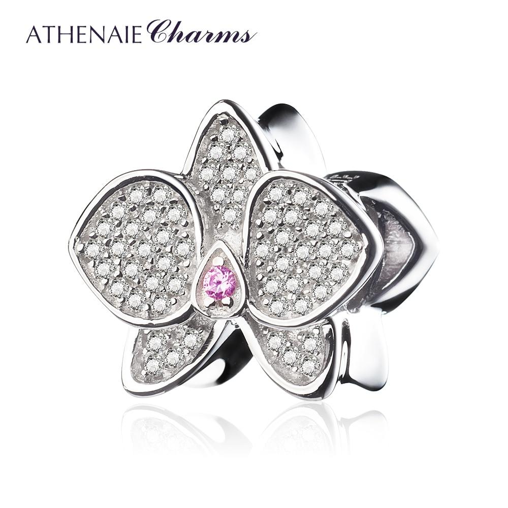 ATHENAIE 925 пробы серебро с CZ Орхидея бисера талисманы кулон для мамы бусины подходят браслет ювелирные изделия аксессуары