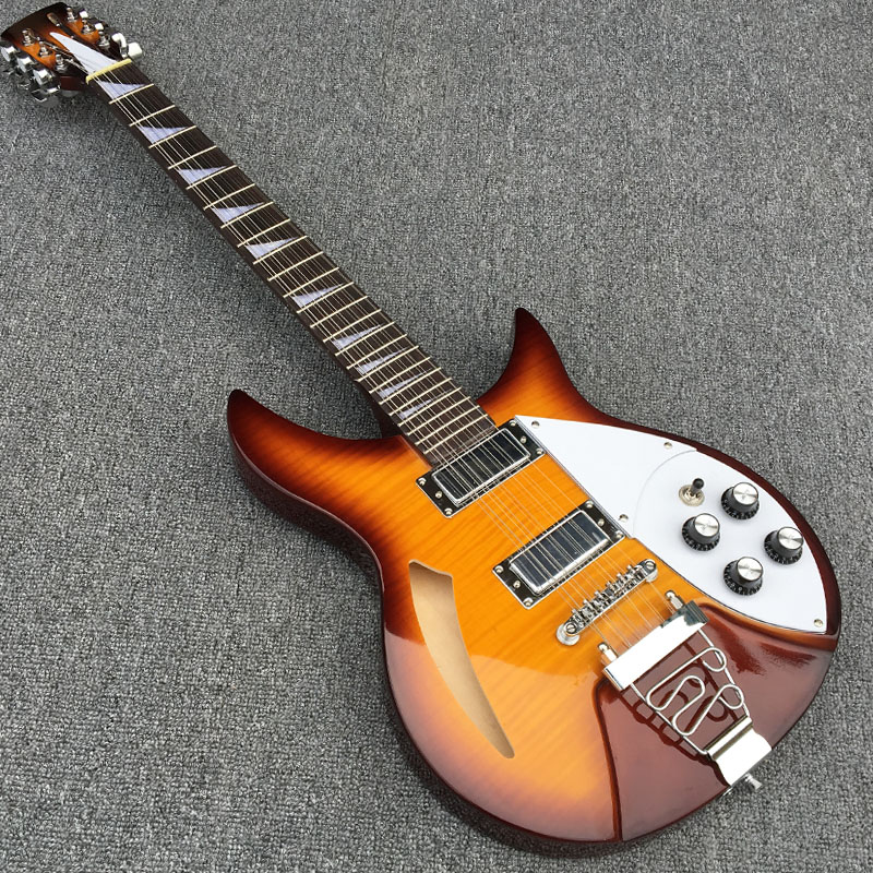 Semi Hollow body Rick 360 Electric guitar 12 strings guitar in Classic tiger stripes color, All Color are available, Real photos new big john special shape electric guitar with sticking tiger stripes mahogany body in red free shipping jt 38