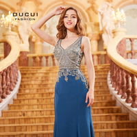 Arabic V Neck Sexy Backless Evening Gowns Long Party Dresses Elegant Navy Crystal Bodice Satin Woman Formal Prom Dress OL103300