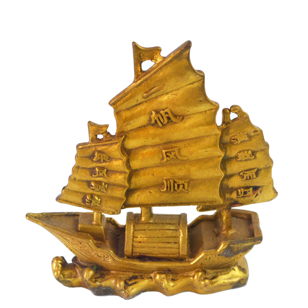 Chinese Fengshui Brass Dragon Boat Ship Plain Sailing Statue 5 Free Mxsabrina Red String Bracelet M5017