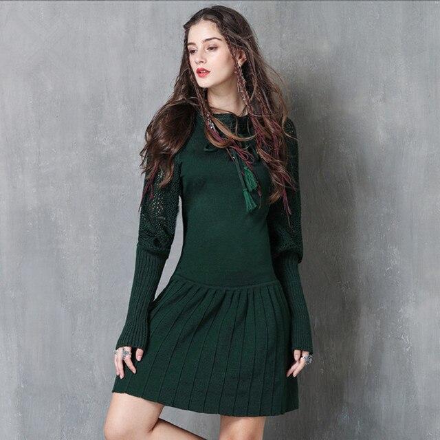 Vintage Donna Autunno Maglione Vestito 2017 Inverno Aderente Maglia Manica  Lunga A Pieghe Verde Nero Vestiti 54a08bb7ed6