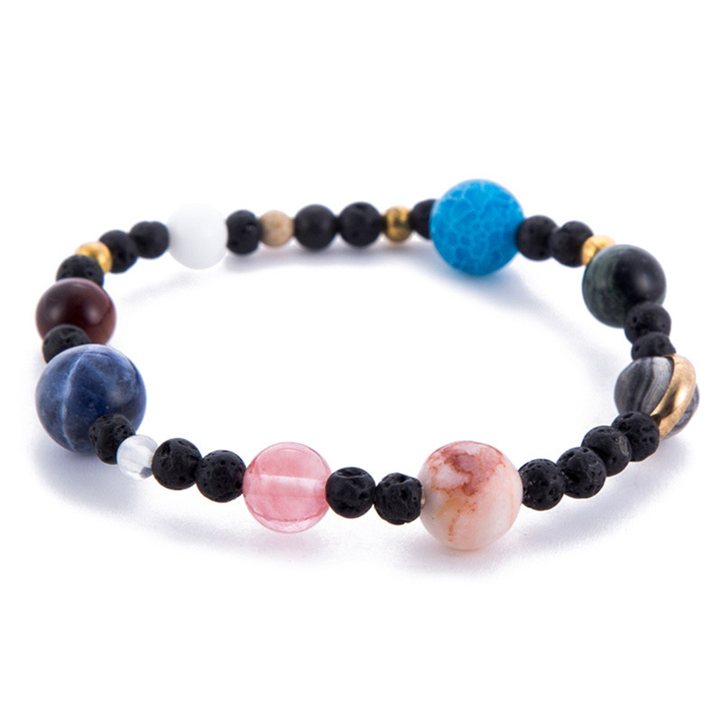 Handmade Solar System 9 Planets Universe Stars Natural Stones Beaded Galaxy Strand Bracelets