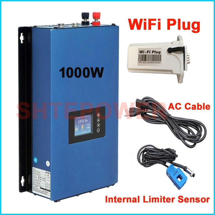1000 Вт Солнечный MPPT на галстук инвертора сетки с Внутренний ограничитель, MPPT PV Системы DC 45 90 В 22 60 В вход с Wi Fi plug 1KW к AC 110 В