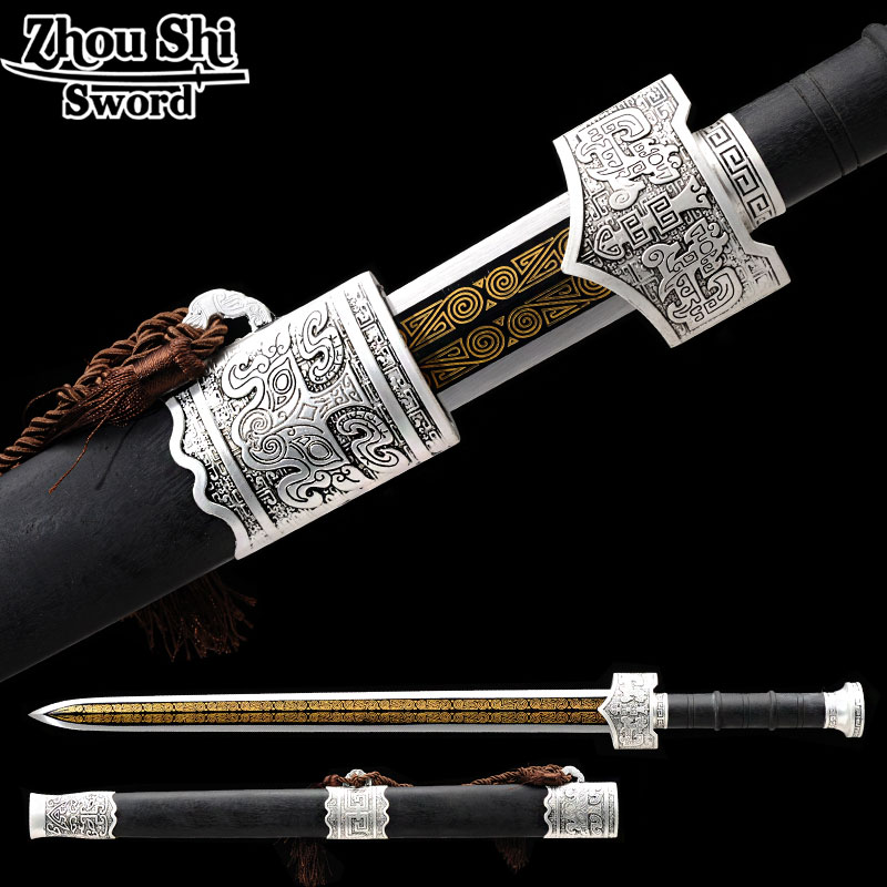 Chinese sword Home Decoration All hand-made <font><b>1095</b></font> <font><b>steel</b></font> Ebony Sheath Delicate Blade unique Style Metal Craft Gift image
