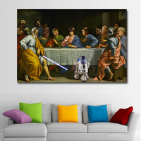 1 Pcs HD Prints Surrealism Last Supper People With Robbert Painting Printed On Canvas Prints Poster Home Decor Wall Art No Frame