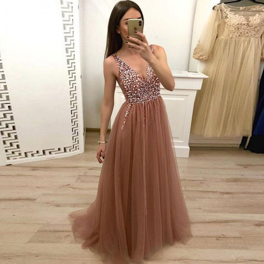 A-Line Beaded V-Neck Tulle Long   Prom     Dresses   Brown Floor Length Sleeveless Crystals Evening   Dress   vestidos de graduacion