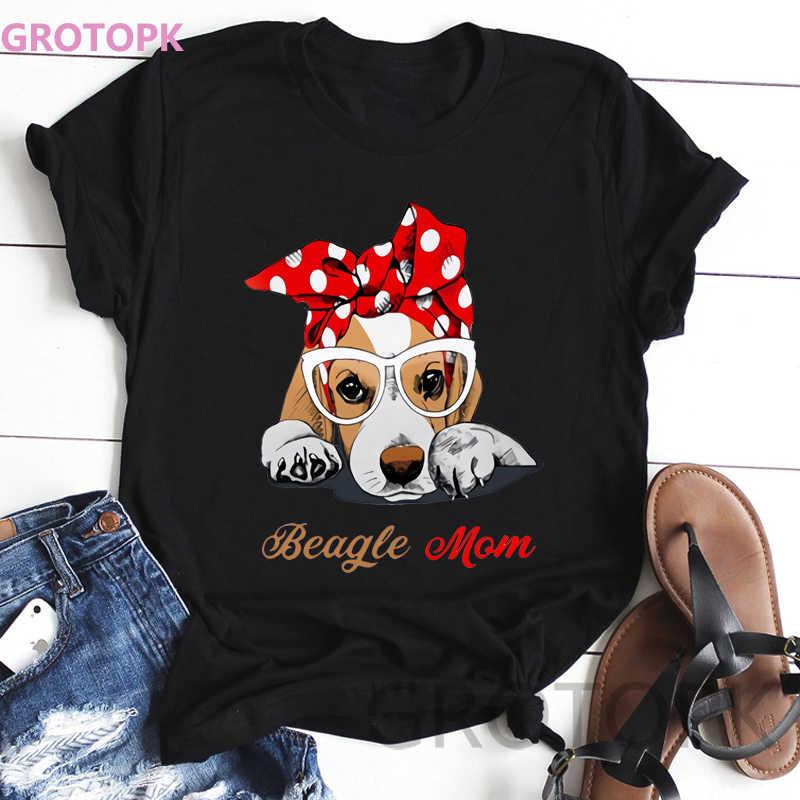 Kawaii Cane Stampe Maglietta Nera A Maniche Corte Poliestere T Shirt per le Donne Beagle Mamma T-Shirt Vintage Donna fashion Harajuku Top